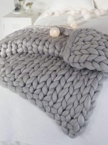 "MLMGUO Chunky Knit Blanket Soft Handmade Knitting Throw for Bedroom Sofa Decor Super(Light Gray 40""x60"")"