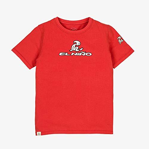 El Niño - Camiseta de Manga Corta con Logo Frontal para niños, Roja, Talla 14 años