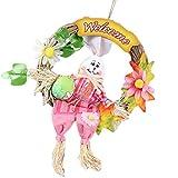 KFGJ Guirnalda De Conejo De Paja De Pascua,Guirnalda Colgante De RatáN,Guirnalda De Conejo para Decoraciones De Conejo De La Puerta Principal,para DecoracióN De Puerta De Casa O Fiesta Rosa