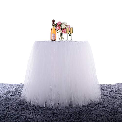 "White Tutu Table Skirt Tull Tablecloth 4FT Birthday Wedding Party Home Decoration Baby Shower Cover for Rectangle Tables(White L:35.8"" H:31.1"")"