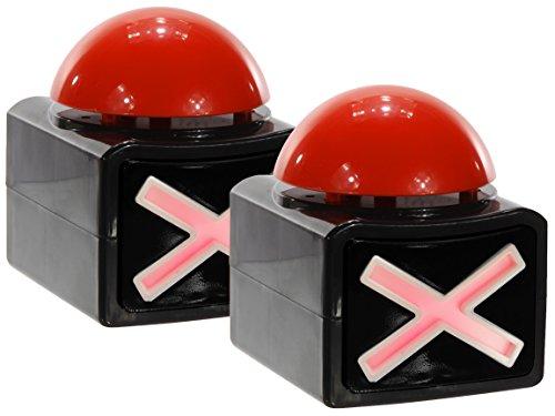 Bada Bing 2er Set XL Buzzer Button Alarmknopf mit Sound und Licht Quiz Quizspiel 705