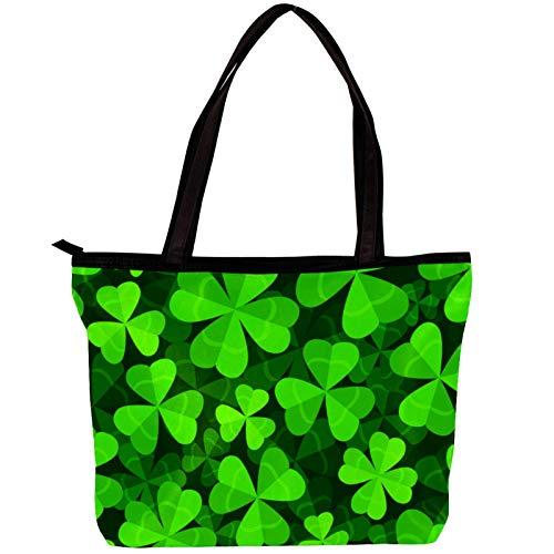 Vockgeng Große Schultertasche aus Segeltuch Glücksklee Laptop-Einkaufstasche für Frauen Mode Handtaschen Arbeitstasche, Geschenk für Frau/Mutter/Mädchen 30x10.5x39cm