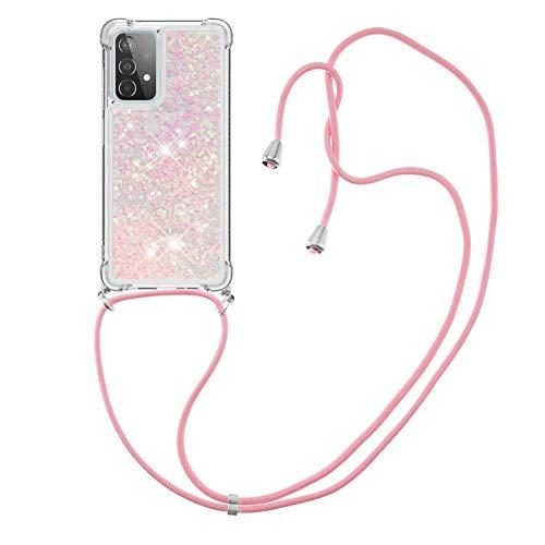 HülleLover Handykette Handyhülle für Samsung A52 5G, Glitzer Flüssig Bewegende Treibsand Transparent Silikon Hülle mit Kordel zum Umhängen Necklace Hülle Band für Samsung Galaxy A52 5G, Rosa
