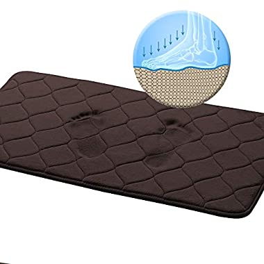 Memory Foam Bath Mat for Bathroom Extra Absorbent with Anti-Skid Protection Bath Rug Non Slip SBR Rubber Backing for Kitchen Bathroom Machine Washable Bath Rugs, 20x32 Inch, Brown