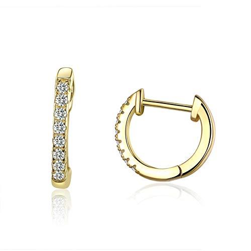 GaLon Pendientes de Plata de Ley hipoalergénica Damas S925 Plateado Oro Verdadero círculo pequeño aro (Color : Gold)