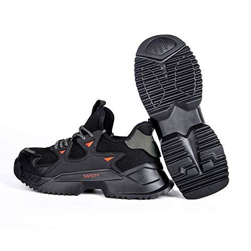 Zapatos Acero Punta Seguridad,Calzado trabajo seguridad para hombres calzado seguridad anti-rotura y anti-perforaciones amortiguación alta elasticidad y calzado deportivo transpirable-negro_41
