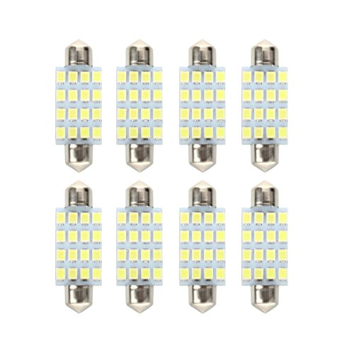 8X Bombilla Lampara 16 LED 3528 SMD 12V Luz Blanco Coche