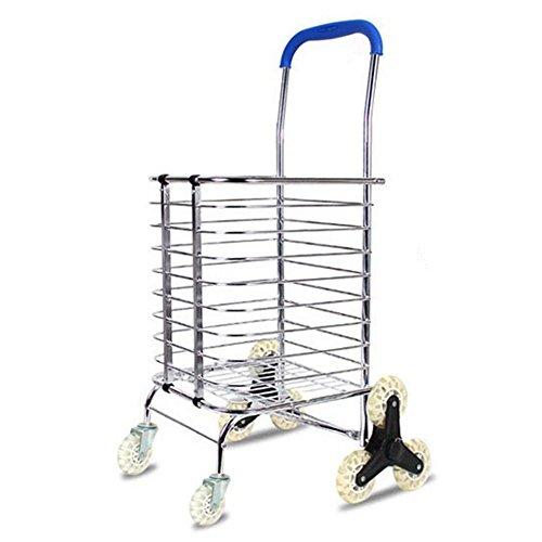 provisions chariot pliable, d'escalier d'escalade à rouler pratique chariot courses, chariot utilitaire à linge avec In-Line Skate Roulements de roue de roue