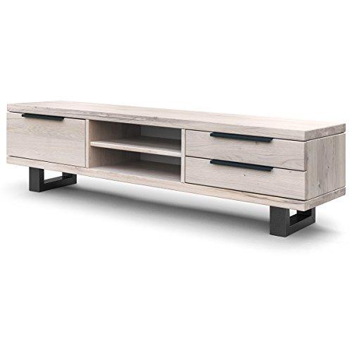 COMIFORT Mueble de TV - Mesa de Roble Macizo para Salón Moderno, Estilo Nórdico, con 3 Cajones y 2 Estantes, Patas de Acero con Acabado Grafito, Color Blanco