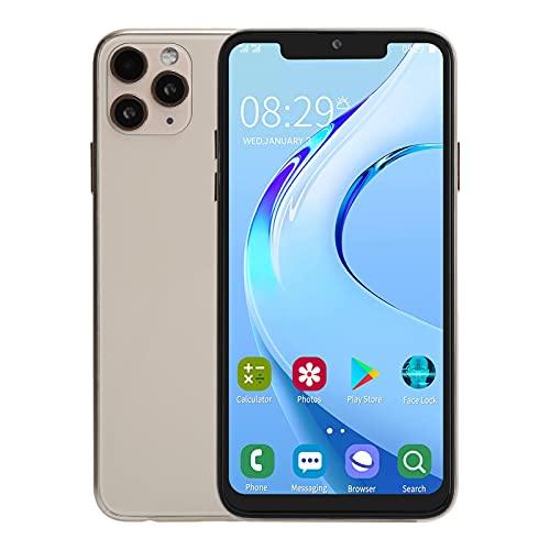 Dpofirs Smartphones desbloqueados I11 Pro MAX, teléfono móvil con Pantalla Bangs de 6.5 Pulgadas, Memoria de 1 + 16GB, batería de 4800mAh, Tarjeta Dual, WiFi, GPS, Bluetooth(Oro)