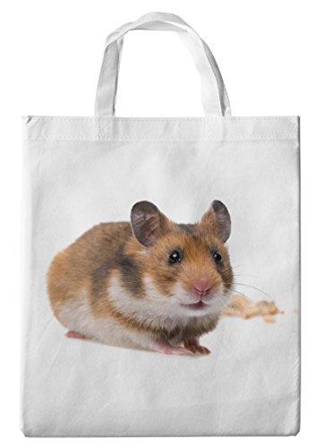 Merchandise for Fans Einkaufstasche- 38x42cm, 8 Liter - Motiv: Hamster Zwerghamster Goldhamster Feldhamster mit Futter [ 05 ]