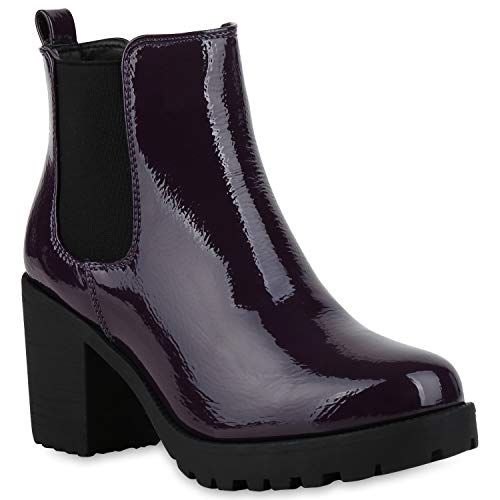 Damen Stiefeletten Chelsea Boots Profilsohle Blockabsatz Schuhe 177219 Lila Lack 39 Flandell