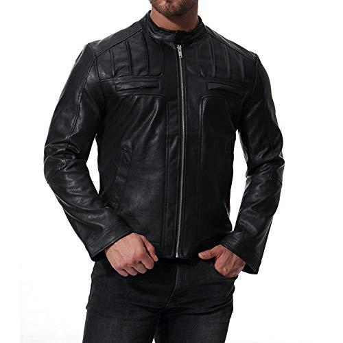 WQDS Chaqueta de Cuero con Cuello Alto para Motocicleta para Hombre, Chaqueta de Cuero Hermosa-Negro_XXL