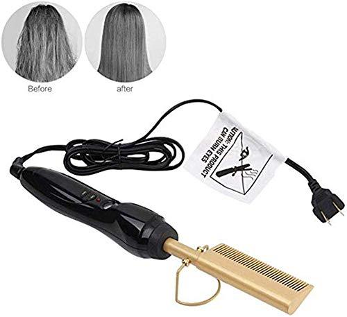 MJLING Kamm Netzgleichrichter Stab Locken Glätteisen Mit Kamm Hot Comb Lockenwickler Elektrische Haarpflege-Legierung Titan