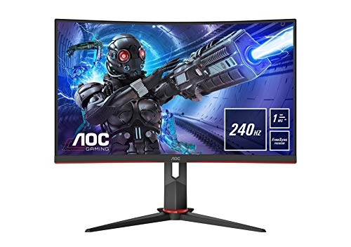AOC Gaming C32G2ZE - 32 Zoll FHD Curved Monitor, 240 Hz, 1ms, FreeSync Premium (1920x1080, HDMI, DisplayPort) schwarz/rot