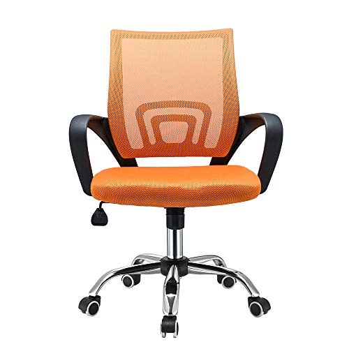 Panana Ergonomic Office Chair, Computer Desk Chair Executive Office Mid-Back Chair Mesh Upholstered Seat Swivel Task Chair (Orange)