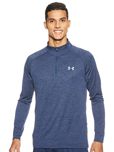 Under Armour Men's Tech 2.0 1/2 Zip-Up T-Shirt , Academy Blue (409)/Steel , Medium