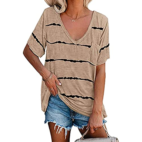Camiseta Mujer De Gran Tamaño Suelta Cómoda Urbana Rayas Impreso con Cuello En V Manga Corta Bolsillo Decoración Verano Transpirable Ligero Mujeres Top Mujer Camisas I-Khaki S