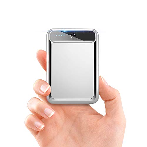 モバイルバッテリー 大容量 小型 10000mAh 【PSE認証済】急速充電 2.1A スマホ充電器 軽量 USB2ポート 2台同時充電可能 LED液晶画面 残量表示 携帯充電器 iOS/Android対応(シルバー)