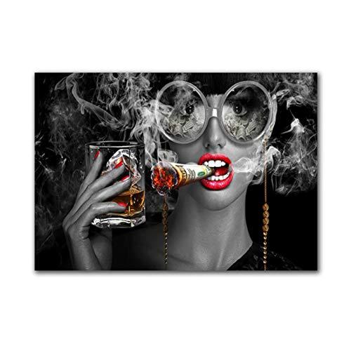 HJZBJZ Moda Belleza Mujer fumadora con Gafas Pintura Carteles Cuadro de Arte de Pared para la decoración del hogar de la Sala de Estar (sin Marco) -20X30 Pulgadas