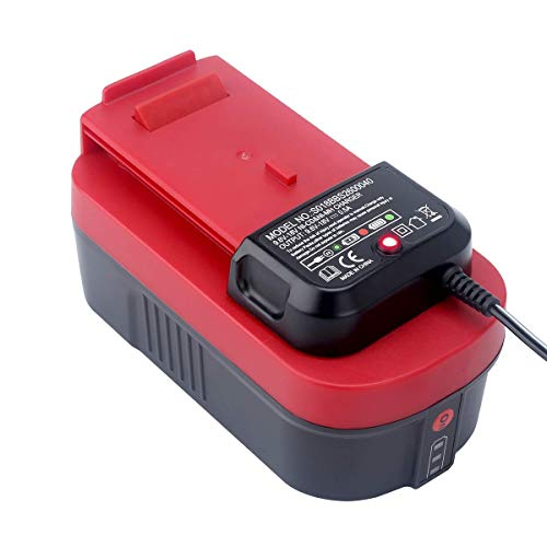 Biswaye 2-Pack 18V Battery HPB18-OPE for Black+Decker 18V Outdoor Cordless Power Tools, and Charger 90556254-01 for Black+Decker 9.6V-18V NiCad & NiMh Battery