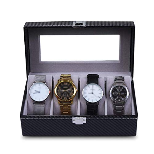 4 rid Watch welry Display Rage arbon Fiber Bracelet Organizers Display Case with Pillows and Lockable Me SZWHO