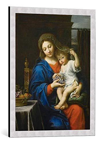 """Kunst für Alle Cuadro con Marco: Pierre Mignard The Virgin of The Grapes 1640-50"""" - Impresión artística Decorativa con Marco, 55x70 cm, Plata cepillada"""