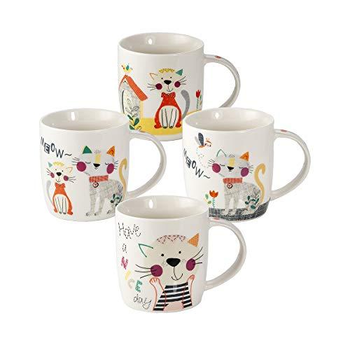 Juego Tazas de Café, Tazas Desayuno Originales de Té Café, Porcelana con Diseño de Lindo Gato, 4 Piezas - Regalos para Amantes de los Gatos Mujeres y Hombres