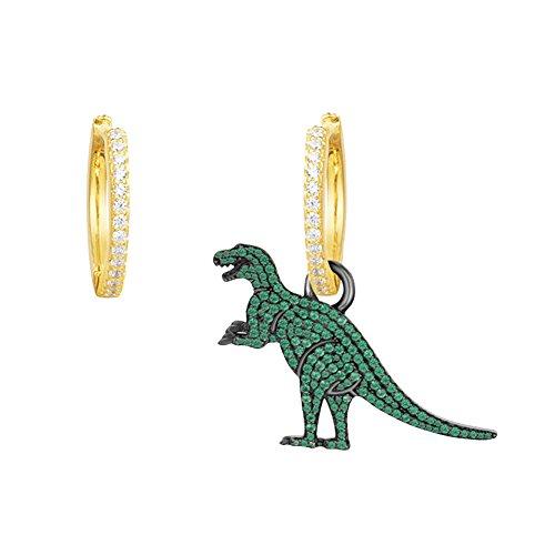 Gudeke Pendientes dinosaurios de moda con pendientes asimétricos de cristal colgante (Verde)