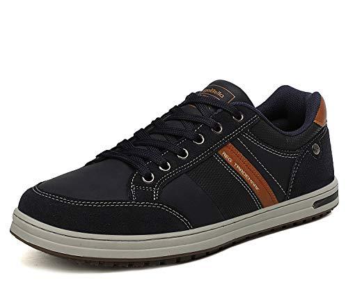 AX BOXING Zapatillas Hombres Deporte Running Sneakers Zapatos para Correr Gimnasio Deportivas Padel Transpirables Casual 40-46 (43 EU, Azul Oscuro)