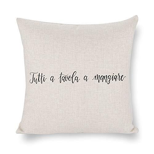 Funda de cojín Byron Hoyle Tutti A Tavola A Mangiare, fundas de almohada de cocina italiana, fundas de almohada de lino de algodón para dormitorio y sofá, cuadradas decorativas para decoración del hogar, regalo de inauguración de la casa