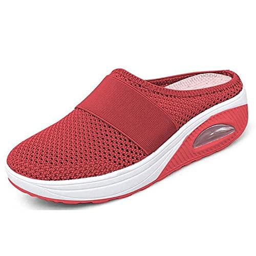 AUI Chaussures de Marche à Enfiler à Coussin d'air pour Femmes - Chaussures de Marche orthopédiques pour diabétiques, Respirantes avec Soutien de la voûte Plantaire (Red,41)