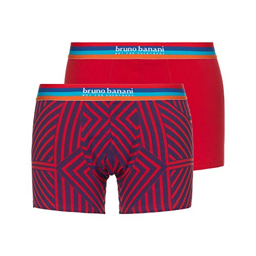 bruno banani Herren Short 2er Pack Open Mind Boxershorts, Mehrfarbig (Rot//Rot/Blau Graphic Print 3054), Medium (Herstellergröße: M)