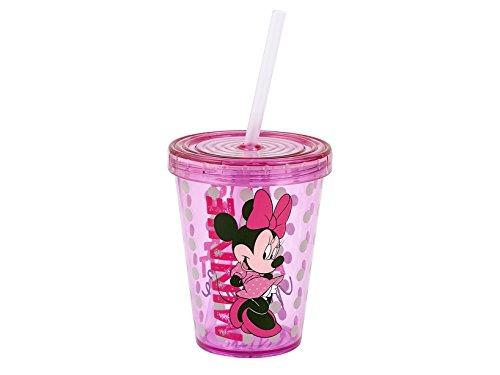 Lulabi Disney Minnie Bicchiere con cannuccia, Plastica, Rosa, 450 ml