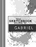 Gabriel: | Sketch Pad | Grey paint splatter design | personalized drawing book for children |