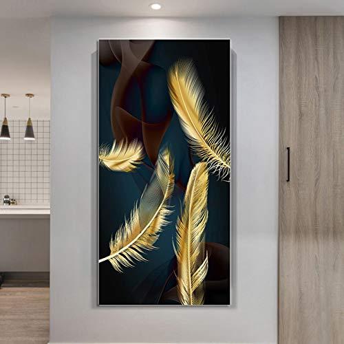 Carteles e impresiones de plumas doradas abstractas vintage nórdicas pintura en lienzo cuadros artísticos de pared decoración del hogar 40x80cm / 15.7'x31.5'sin marco