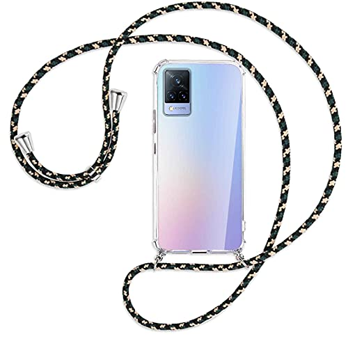 mtb more energy® Handykette kompatibel mit vivo V21 4G, V21 5G (6.44'') - Camouflage - Smartphone Hülle zum Umhängen - Anti Shock Full TPU Hülle