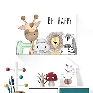 Xykshiyy Be Happy Nursery Room Prints Painting On Canvas Animals Hippo Giraffe Monkey Lion Poster Picture Home Decor for Kids Baby Room/50x90cm no Frame
