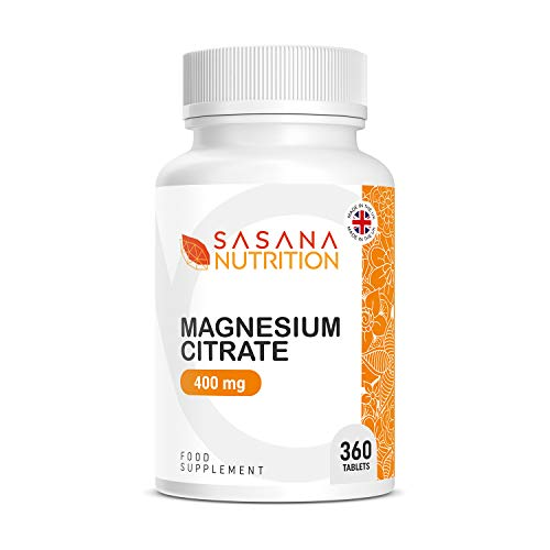 Sasana Nutrition Magnesium Citrate 400mg – 360 Magnesium Citrate Tablets - Magnesium Supplements Manufactured in The UK