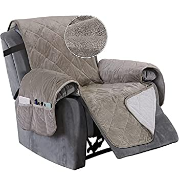 Turquoize Recliner Cover Velvet Recliner Chair Cover Pet Cover for Recliner with Elastic Straps Recliner Seat Width Up to 28  Sofa Slipcover for Living Room Furniture Protector  Large Taupe