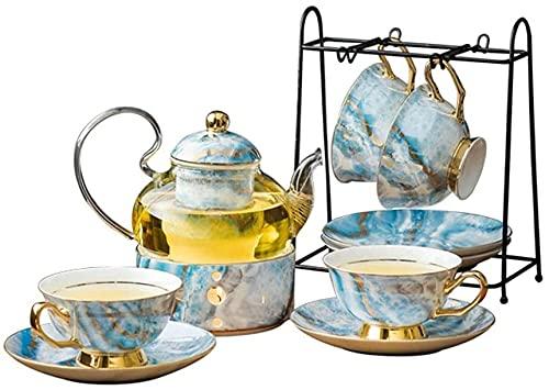 LCNING Sistema de té de Porcelana Taza de té de cerámica nórdica con colcheador de la Vela Conjunto de Tetera Floral Taza de café Taza de café Taza de Taza de café (Color : A)