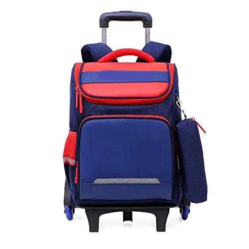 Student Trolley Schultasche, Grundschüler Rucksack, Kinder Schulranzen, Jungen Schulranzen (Color : Blue red)
