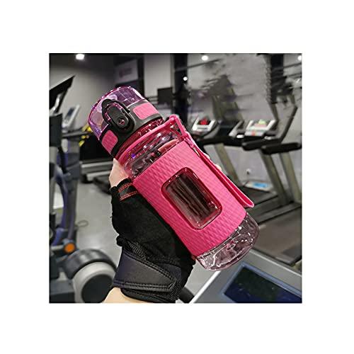GYN Botellas de Agua Deportivas Gimnasio a Prueba de Fugas Agitador Portátil a Prueba de Caídas Hervidor de Viaje al Aire Libre Botella de Agua de Bebida de Plástico Sin BPA,Pink,650ml