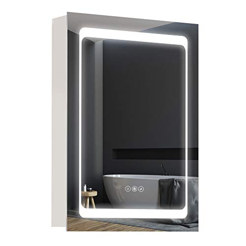 kleankin Dimmable LED Lighted Medicine Cabinet with Mirror, Wall-Mounted Bathroom Cabinet with 3-Tier Storage Shelves, Single Door, Smart Touch, Plug in