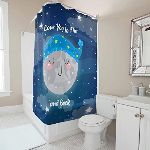 DOGCATPIG Cortina de ducha de tela I Love You To The Moon And Back - Cortina de ducha resistente con ganchos para baño, lavable a máquina, 150 x 200 cm, color blanco