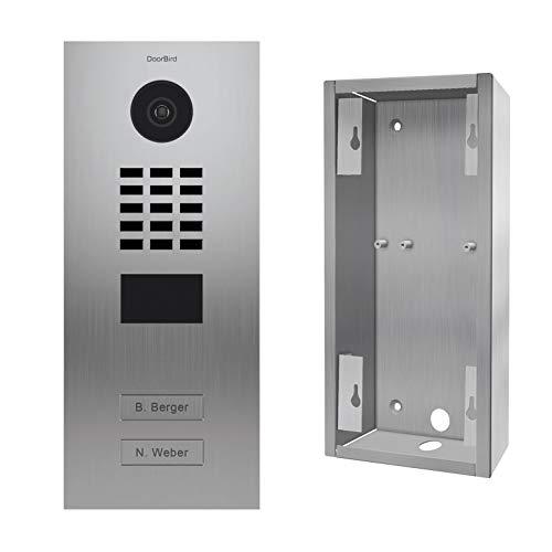 doorbird–Kit d2102V + sup-d2102V-d2103V–Videoportero (IP 2timbres a d2102V Acero Inoxidable + Soporte de Montaje