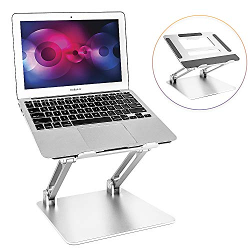 Laptop Stand, Portable Aluminum Laptop Holder, Adjustable Laptop Riser with Heat-Vent Compatible with MacBook Air, Pro, Dell, Samsung, Lenovo, More 10-15.6' Laptops