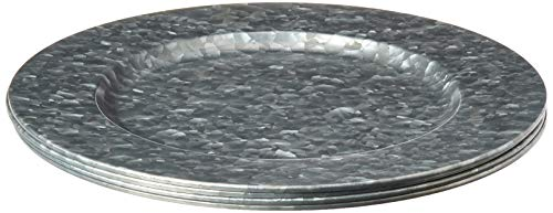 """Circleware Set of 4-13"""", Steel Silver Charger Plates Dinnerware Dishes, Classic Round All Occasion, Limited Edition Home & Kitchen Food Service Decor, 4-pack, Galvanized"""