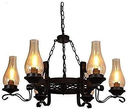 3 Kronleuchter Industrie Wind Wagen Rad Schornstein Glas Lampe Deckenlampe 6 Hurrikan Lampe Restaurant Bar Wohnzimmer Café Teehaus Kronleuchter Einfach Zu Installieren