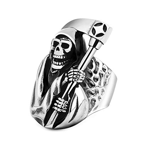 Reaper Ring 316L Stainless Steel Grim Anarchy Skull Jewelry for Mens Boys